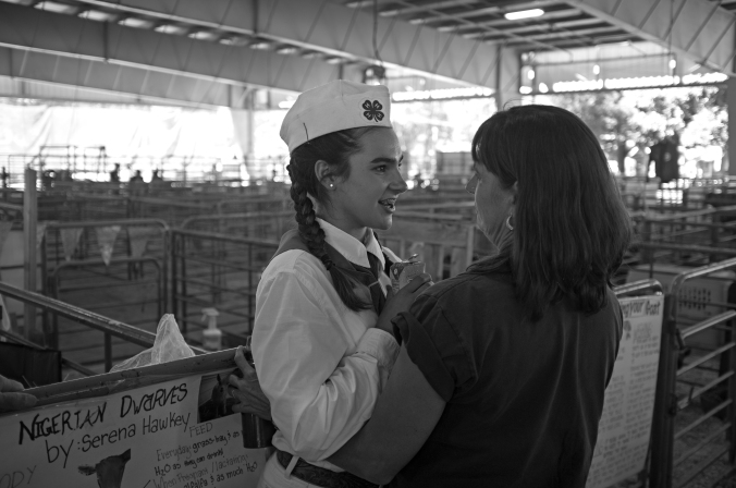 Serena gets a pep talk from her mom before the dairy goat show at the Alameda County Fair. Photo by Rafael Roy.